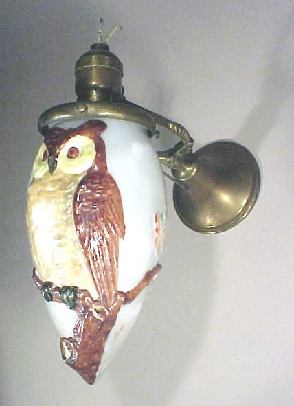 1016: Antique  Wall Sconce Embossed Owl on Shade