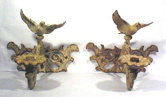 1017: Pair Eagle Wall Sconces Cast Iron