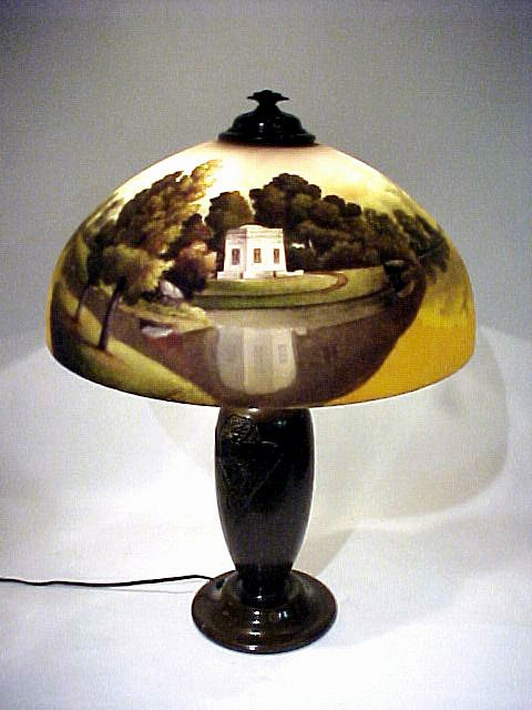 1018: Antique Reverse Painted Art Glass Lamp Classical