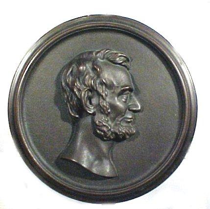 1025: 19th Century Bronze Portrait Plaque of Lincoln