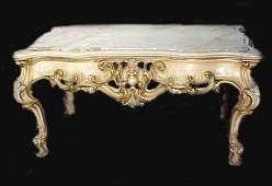 1133: Fancy Coffee Table Carved Painted Onyx Top