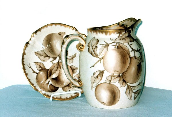 2001: Antique Limoges Porcelain Pitcher Plate Fruit