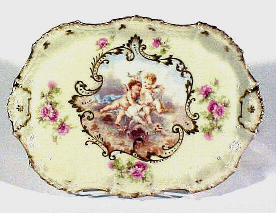 2002: Antique Limoges porcelain Vanity Tray Cherubs