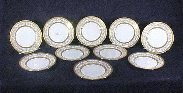 2007: 10 Limoges PorcelainPlates Floral Gold Enamel