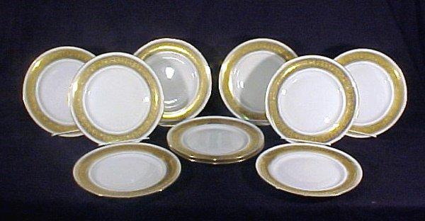 2008: 10 Limoges Porcelain Plates Antiq Gold Enamel
