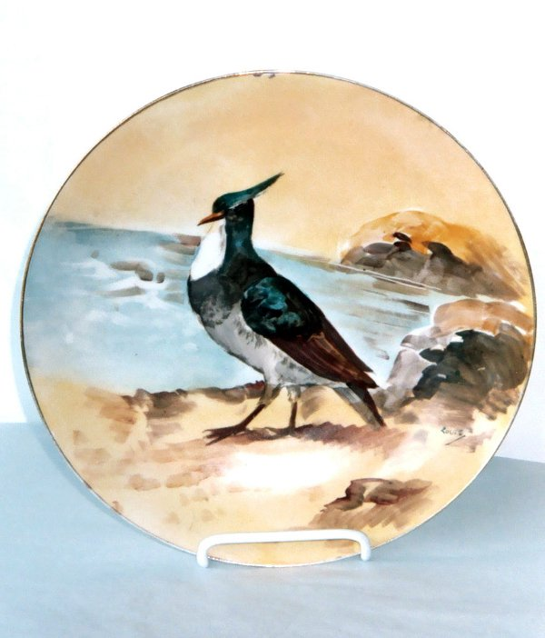 2011: Hand Painted Limoges Game Plate Bird Antique