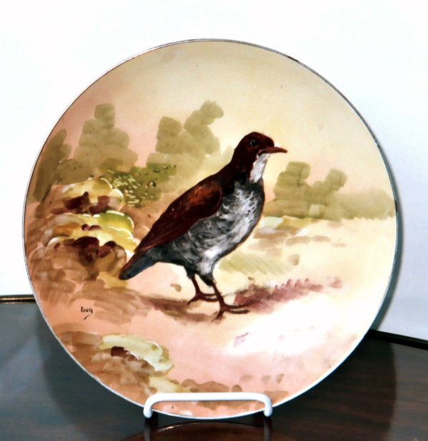 2012: Antique Hand Painted Limoges Game Plate