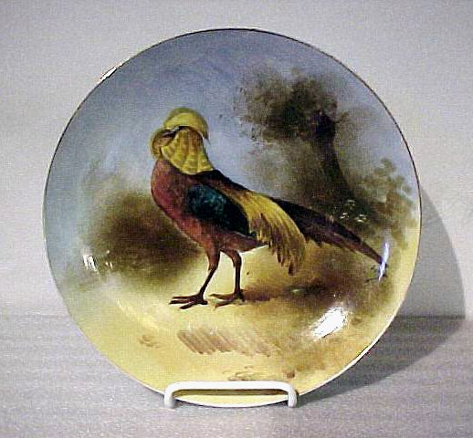 2013: Antique Painted Limoges Game Plate Rooster