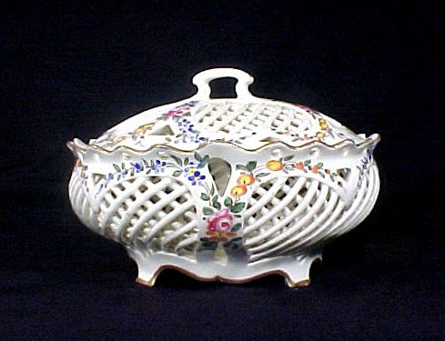 2017: Antique French Fiance Compote Floral Enamel