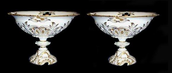 2020: Antique Porcelain KPM Enamel Compotes Tall Pr