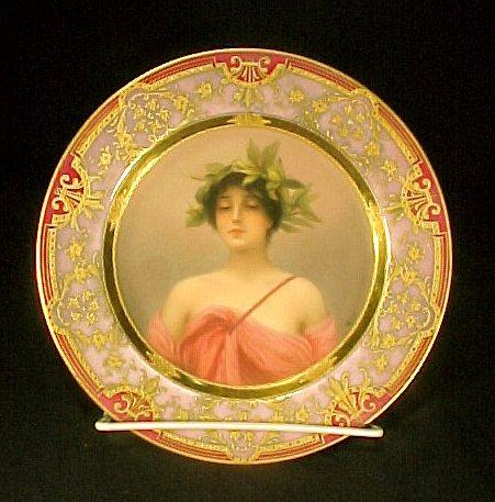 2027: Antique Porcelain Cabinet Plate Gold Enamel