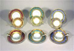 2041: Antique German Porcelain Enamel Cups Saucers