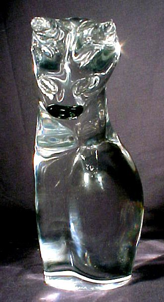 2065: Signed Daum France Glass Cat Large Figurine - 4