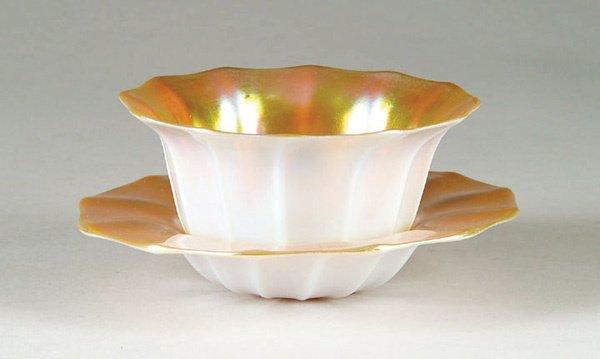 2078: Antique Steuben Glass Aurene Bowl & Plate