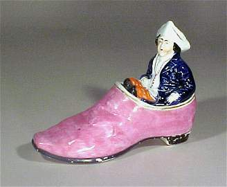 2097: Rare Staffordshire Pottery Figural Inkwell