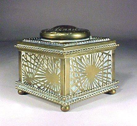 4001: Antique Tiffany Inkwell Bronze Glass