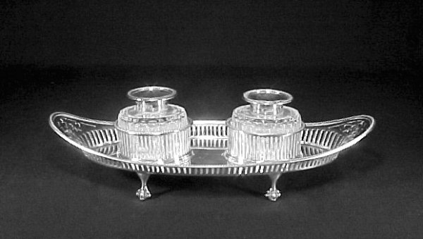 4002: Antique Inkwell Sterling Silver Cut Glass