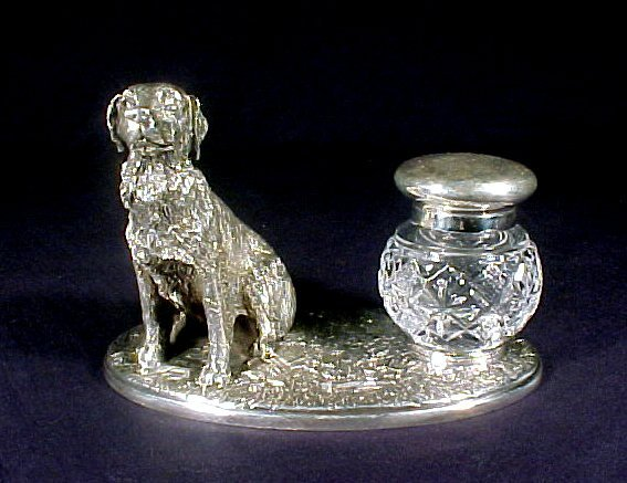 4003: Antique Inkwell Silver Glass Dog