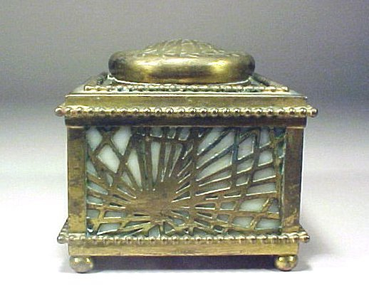 4005: Antique Inkwell Signed Tiffany Bronze