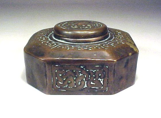 4006: Antique Signed Tiffany Inkwell Bronze Crab