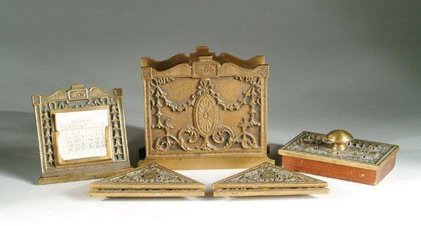 4011: Antique  Bronze Desk Set Bradley Hubbard