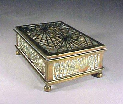 4012: Antique Signed Tiffany Box Bronze Glass Pine