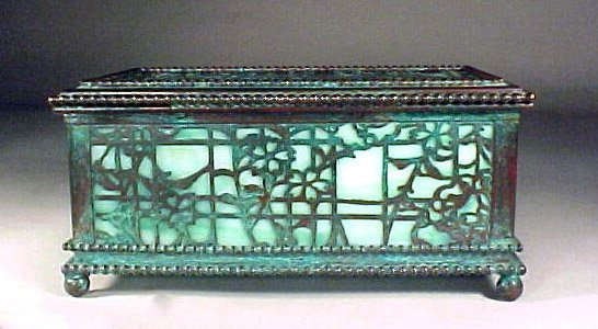 4013: Antique Signed Tiffany Box Bronze Glass