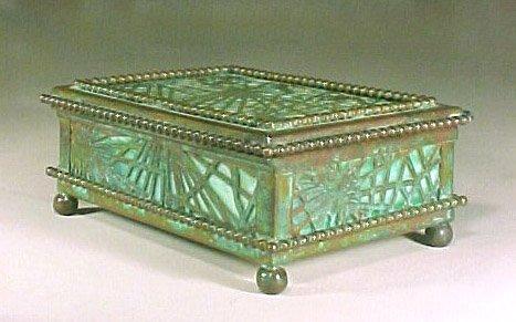 4014: Antique Signed Tiffany Box Bronze Glass