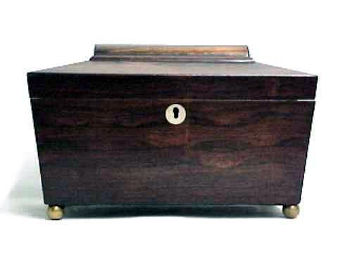 4015: Antique Carved Rosewood Tea Caddy Box
