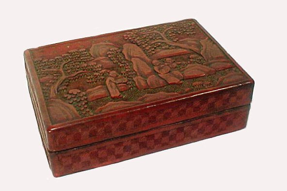 4018: Antique Chinese Cinnabar Box Lacquer Carved