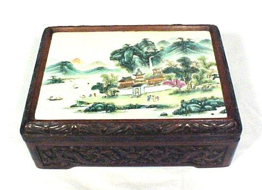 4019: Antique Carved Wood Box Enamel Porcelain