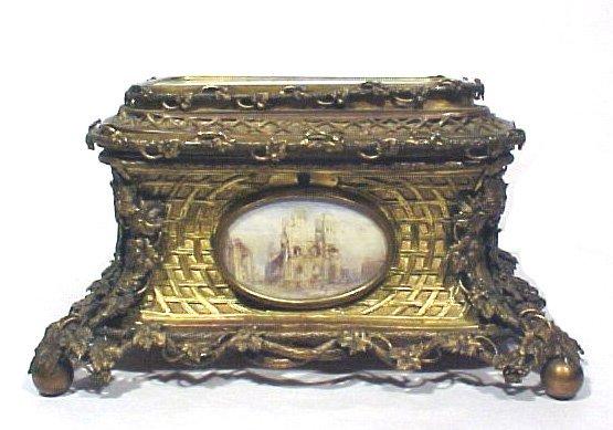 4020: Antique Bronze Jewelry Box Ivory Paintings