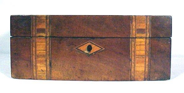 4021: Antique Wood Document Box Inlaid