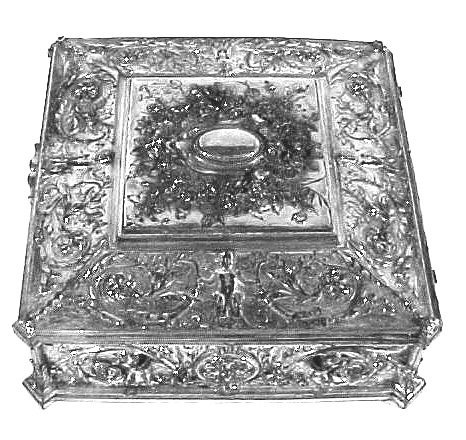 4022: Large Antique Silver Jewelry Box
