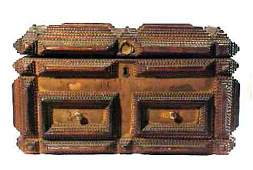 4023: Antique Tramp Art Carved Wood Box Dated