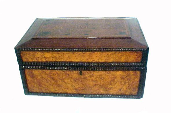 4024: Antique Carved Country Box Mahogany Maple
