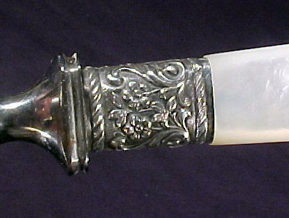4043: Antique Mother of Pearl Carving Set Silver - 2