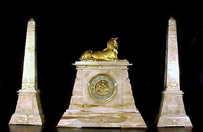 4066: Antique Egyptian Revival Clock Set Marble