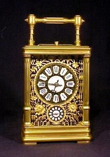 4067: Antique Carriage Clock Bronze Blue Enamel