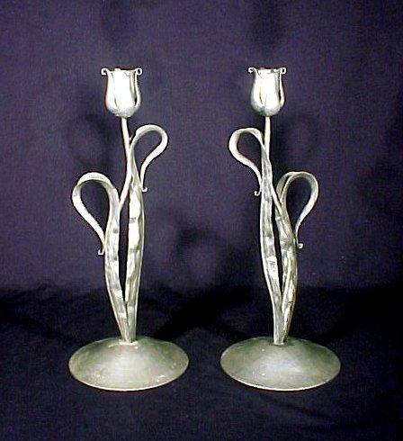 4108: Signed Nekrassoff Pewter Candlesticks Pair