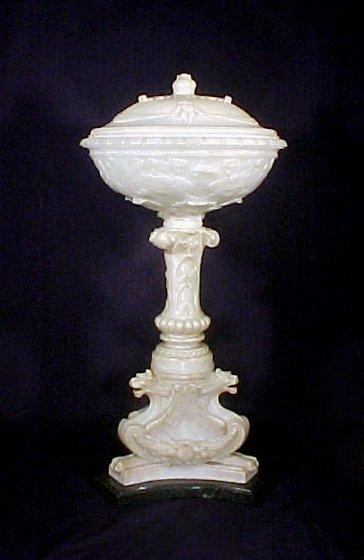4109: Antique Italian Marble Alabaster Table Lamp