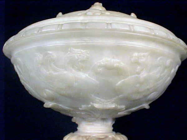 4109: Antique Italian Marble Alabaster Table Lamp - 6