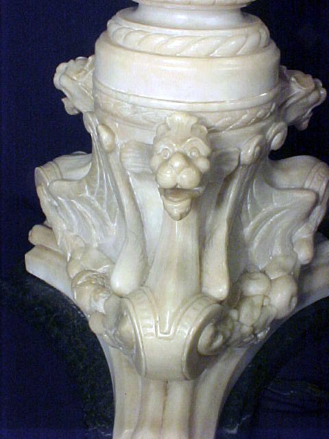 4109: Antique Italian Marble Alabaster Table Lamp - 7