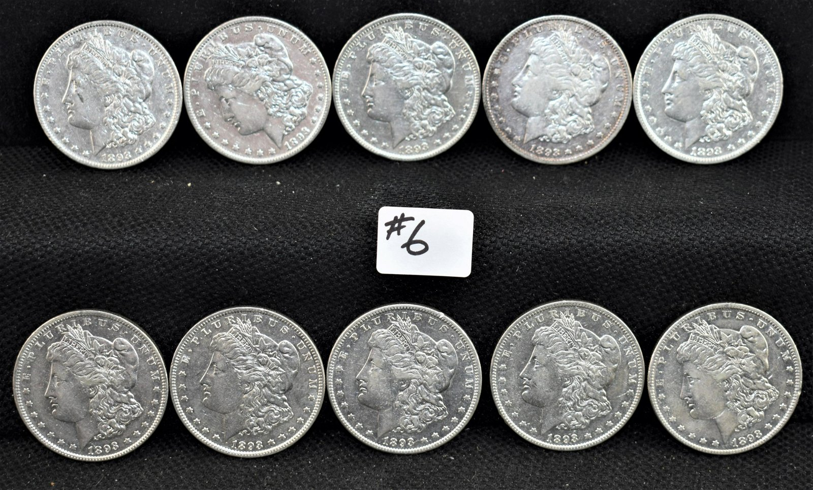 10 KEY DATE VF/XF 1893 MORGAN DOLLARS