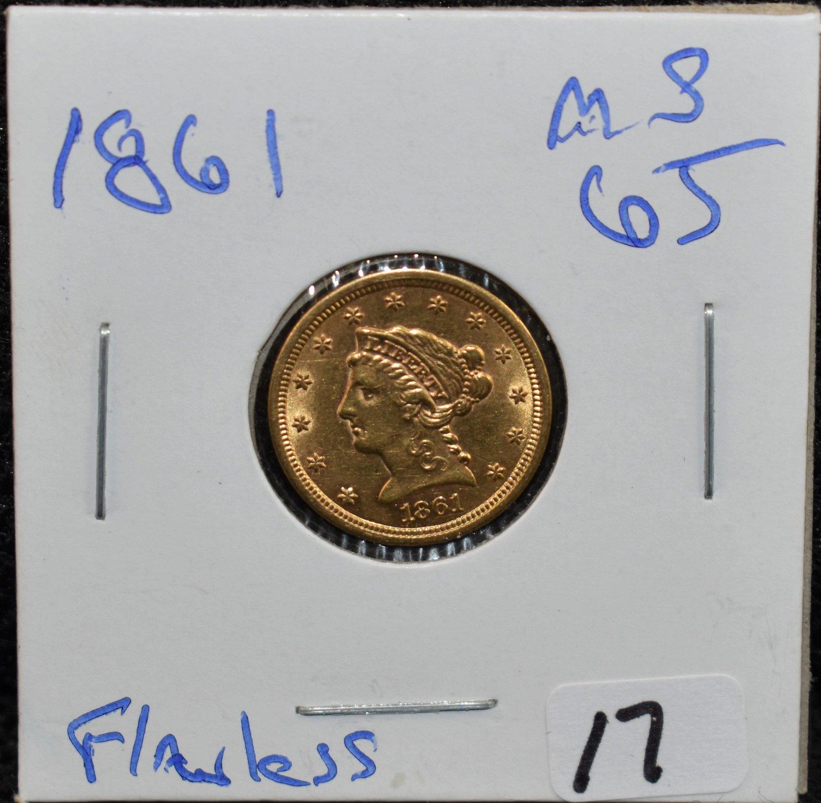 RARE 1861 $2 1/2 LIBERTY GOLD COIN