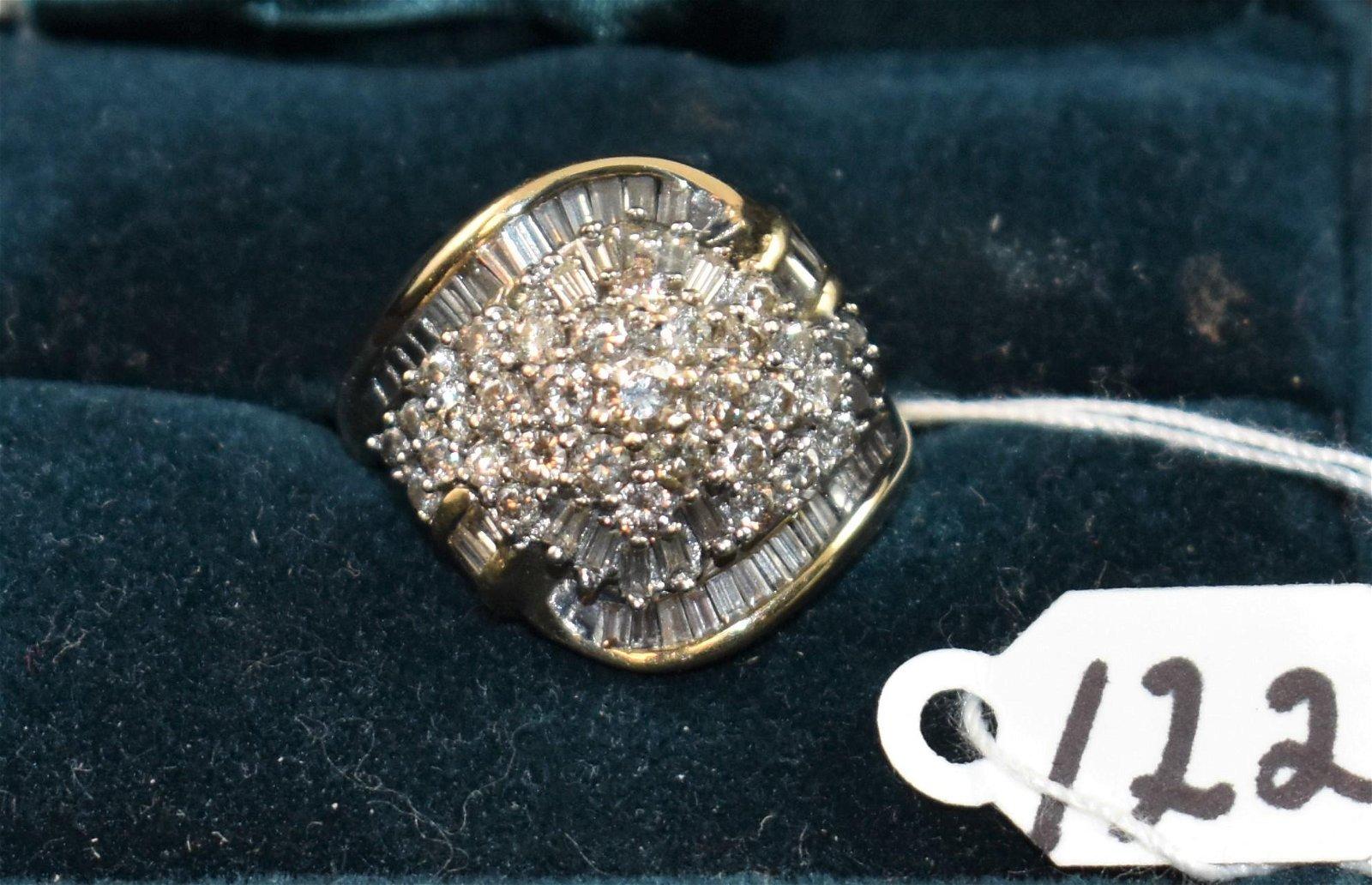 LADIES 2CTTW DIAMOND CLUSTER 14K GOLD RING