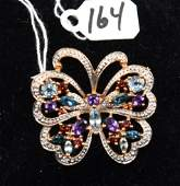 LOVELY MULTI COLORED GEMSTONE 14K BUTTERFLY PIN