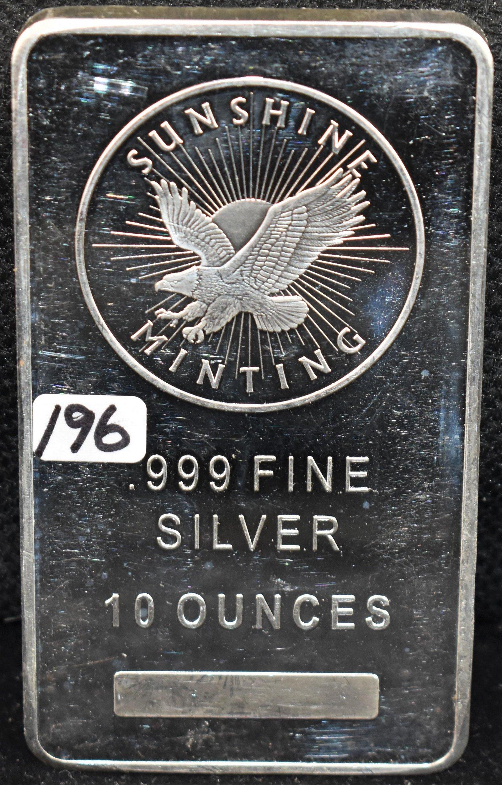 SUNSHINE MINTING 10 TROY OZ 999 FINE SILVER INGOT