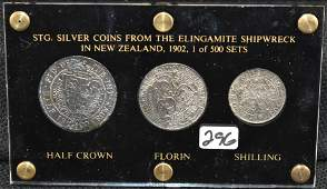 THREE 1902 SHIPWRECK SILVER COINS LTD ED 1500