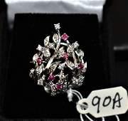 LOVELY LADIES RUBY  DIAMOND 14K BROOCH